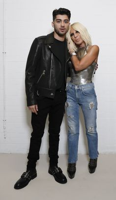 Zayn at the announcement of his new partnership with Donatella For Versus Versace.   Donatella said the following about Zayn: 'I met him again when he started to date Gigi, who I work with all the time. And he impressed me very much.'