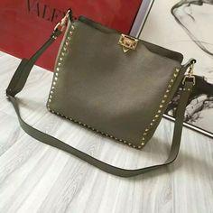 2016 Fall/Winter Valentino Rockstud Hobo Bag in Grey Leather