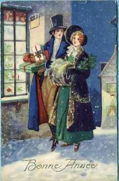 Beautiful old postcard: Victorian Couple at Christmas!