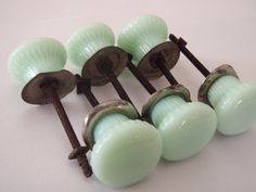 drawer knobs - green milkglass Could look on Etsy for French blue colour to match tiles Drawer Pulls And Knobs, Door Pulls, Door Handles, Green Milk Glass, Vintage Door Knobs, Vintage Drawers, Glass Door Knobs, Deco Originale, Knobs And Knockers