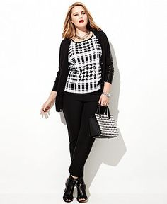 Plus Size Fall Fashion Trend Report My Tailored Look Sequin Top, Cardigan & Skinny Pants Look - Plus Sizes - Macy's