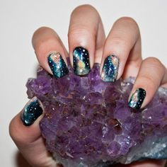 Falling in love with galaxy nails.