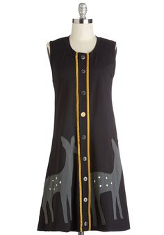 Oh What Fawn It Is Dress. Celebrate the weekend in this cheerful black shift dress by Heel Athens Lab. #black #modcloth