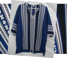 Vintage MAMOUZAKIS Top Men Greek 3 Blue Woven Tunic Shirt Ethnic Boho Hippy