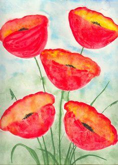 ORIGINAL   Abstract Watercolor  Painting   Red by StudioBellArt, $39.99