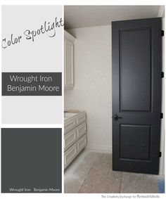 My new front door color. If you've been searching for the perfect black paint color, Benjamin Moore Wrought Iron is the perfect muted black -- balanced and warm but still dark and dramatic. Interior Door Colors, Black Interior Doors, Black Doors, Paint Interior Doors, Interior Door Styles, Paint Doors Black, Interior Design, Black Garage Doors, How To Paint Doors