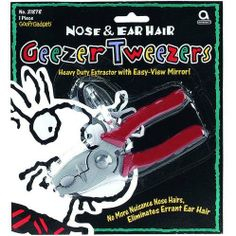 Over the Hill Geezer Tweezers Nose  Ear Hair by Amscan. $22.52. 1 per package.. Over the Hill Gag Gifts. The best solution yet for those pesky, hard to reach ear and nose hairs on your favorite geezer!  This birthday gift will have the party rolling with laughs!
