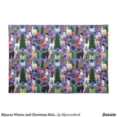 Alpacas Winter and Christmas Holiday Placemat