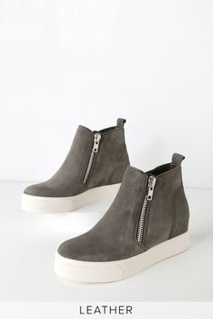 official photos 653d0 4f817 Kick your street style OOTD up a notch with the Steve Madden Wedgie Grey  Suede Leather