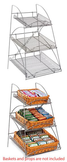 Wire Rack for Countertop Use with Removable Trays, 3-Tiered Tapered Design, Silver