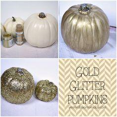 DIY Gold Glitter Pumpkins with Burlap Glitter Pumpkins, Glass Pumpkins, Painted Pumpkins, Halloween Pumpkins, Halloween Crafts For Kids, Holidays Halloween, Fall Crafts, Halloween Diy, Happy Halloween