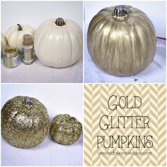 How to make DIY Gold Glitter Pumpkins