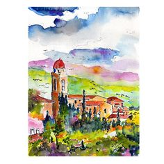 http://etsy.me/1B9aKh3 | Italy Assisi Umbria Original Painting Watercolor and Ink by Ginette Callaway