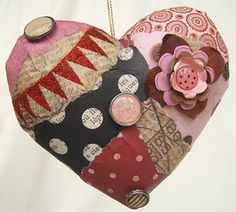 Collage paper mache' heart ornament