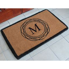 """First Impression Hanwoven Extra Thick Kepano Abstract Circle Doormat,Large Size,24""""X39"""" (Monogrammed"""