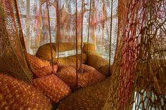 Wild instillation art work that looks rather like the inside of someone's intestines. By the Brazilian artist Ernesto Neto.
