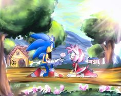 I'm pretty sure every sonamy fan remembers this emotional scene from Sonic X I remember Sonic's voice was muted out in the Japanese dub which led a lot of people wondering what he actually said to ... Sonic And Amy, The Sonic, Sonic Art, Sonic The Hedgehog, Hedgehog Art, Amy Rose, Sonic Fan Characters, Anime Characters, Celestia And Luna
