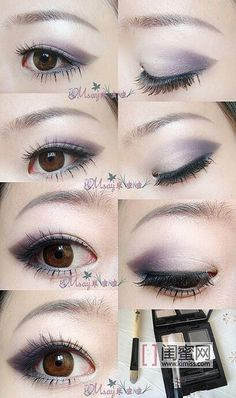 Smokey lavender asian eye makeup--great color for lighter skin tones