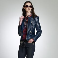 Jones New York: Spice Bazaar > Faux Leather Quilted Jacket - Love the blue leather!  Biker Mamma!