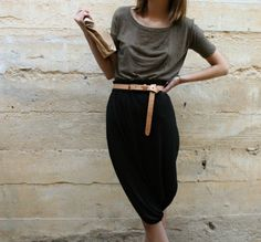 .Grey draped top + black draped skirt and camel belt in the miiddle...!