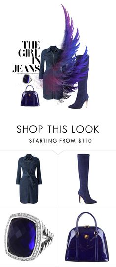"""""""Denim"""" by holidays131s ❤ liked on Polyvore featuring Phase Eight, Nine West, David Yurman and MCM"""