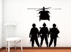 Military Troops, Chopper, Army, Airforce - Decal, Sticker, Vinyl, Wall, Home, Kid's Decor on Etsy, $36.00