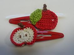 Delishus Red Apple Crochet Hair Clips - by crazychickens on madeit.