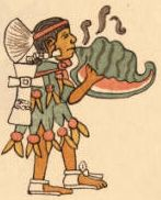 "The Aztecs named the conch shell trumpet 'quiquiztli', and the musicians who played them ""quiquizoani."" This is the instrument that Quetzalcoatl played to defeat the devious challenge of Mictlantecuhtli, the Lord of the Dead, and reclaim the ancestral bones of humanity at the start of the Fifth Sun."