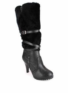 fur shaft leatherette strap boot $25.95