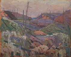 """""""Fire-Swept Hills,"""" Tom Thomson, oil on composite wood-pulp board, The Art Gallery of Ontario. Canadian Painters, Canadian Artists, Collage Landscape, Landscape Paintings, Abstract Paintings, Group Of Seven Paintings, Tom Thomson Paintings, Art Gallery Of Ontario, Virtual Art"""