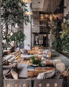 Tree Interior, Interior And Exterior, Interior Decorating, Diy Decorating, Hotel Lobby Design, Restaurant Interior Design, Interior Design Living Room, Cafe Design, House Design