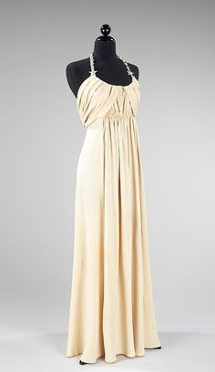 Dress.Madeleine Vionnet, 1938  The Metropolitan Museum of Art. It's called a maxi dress now - sounds so unflattering.