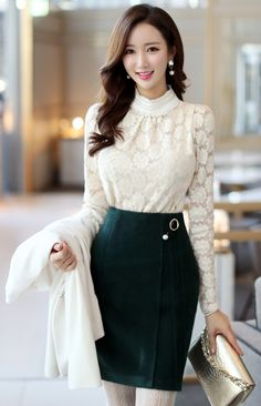 StyleOnme_Pearl Brooch Set Wool Pencil Skirt #green #feminine #elegant #lace #pencilskirt #formal #koreanfashion #kstyle #seoul #pearl #brooch