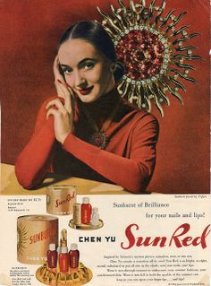 1946 ad for Chen Yu Sun Red nail polish and lipstick. vintage 1940s makeup cosmetics ads