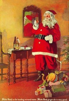 The Christmas issue of Life Magazine on December 1924 featured this ad on the inner cover. Instead of cookies and milk, Santa preferred White Rock. If you wanted to make up for how you behaved, this might be one way to do it. Cocoa Cola, Herald Square, Vintage Advertisements, Ads, Life Magazine, Painted Rocks, Santa, Cute, Waukesha Wisconsin