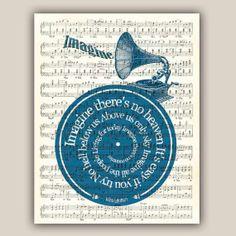 Imagine John Lennon song lyric vinyl record Art by DigiMarthe, $25.00
