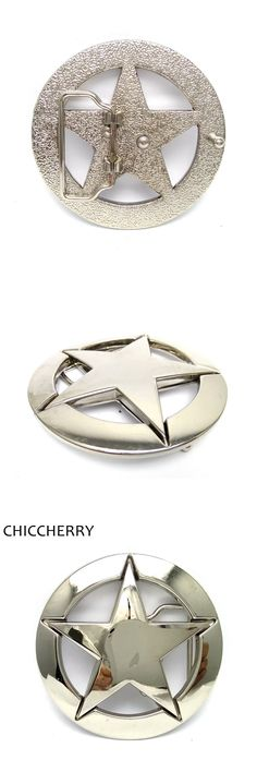 Male Accessories Sheriff Star Silver Metal Round DIY Belt Buckle For Men 4cm Wide Belt Jeans Casual Boucle Ceinture Homme Marque