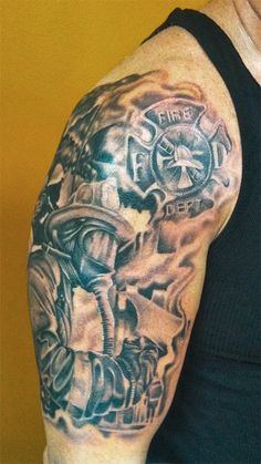 Fire Scene & Maltese Cross Tattoo (shoulder) | Shared by LION
