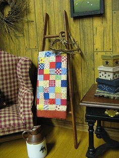 Miniature Primitive LADDER and  Dollhouse Quilt by miniaturecabindecor, via Flickr
