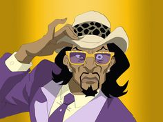 It's a pimp named Slickback, like A Tribe Called Quest, you say the whole thing, A PIMP NAMED SLICKBACK! boondocks character