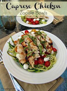 Caprese Chicken Zoodle Bowls - a gluten free, light and healthy dinner recipe | chicagojogger.com