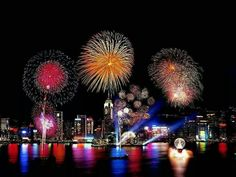 Harbour view night fireworks
