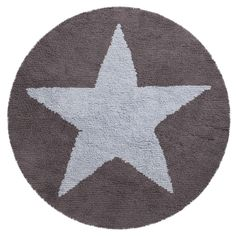 Reversible Circular Star rug in Blue and grey- washable rugs from Lorena Canals