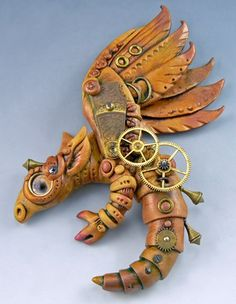 Steampunk dragon, made from polymer clay and metal parts. (no instructions)