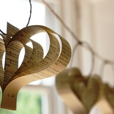 Recycled Paper Heart Garland, Shakespeare Hearts, Cream Bunting