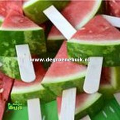 """Such a simple, but fabulous idea! """"Backyard BBQ Birthday Bash"""" I love the watermelon slices on Popsicle sticks. Easy for serving! Birthday Bbq, Summer Birthday, Fruit Birthday, Backyard Birthday, Outside Birthday, Birthday Woman, Happy Birthday, Snacks Für Party, Fruit Party"""