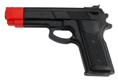 BladesUSA Rubber Training Gun Black and Red Head Painting - Now you can practice in relative safety with our new rubber training guns. This non threat rubber gun is the perfect device for learning proper disarming techniques in armed situations. Comes in black with a red head.