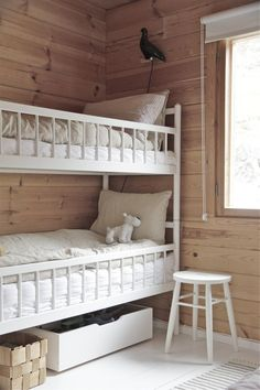my scandinavian home: A Finnish log cabin - bunk beds Room, Neutral Kids Room, Home, Scandinavian Home, My Scandinavian Home, Rustic Bunk Beds, Bed, Kids Bedroom, Bunk Room