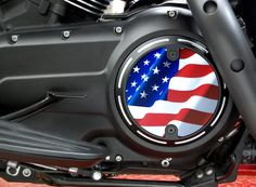 Slotted Style Black Stars & Stripes Derby Cover for Victory Motorcycle Freedom Engines