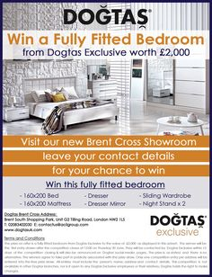 #Win a fully fitted #bedroom! Just leave your details in our new #showroom in #Brentcross. #DogtasUK